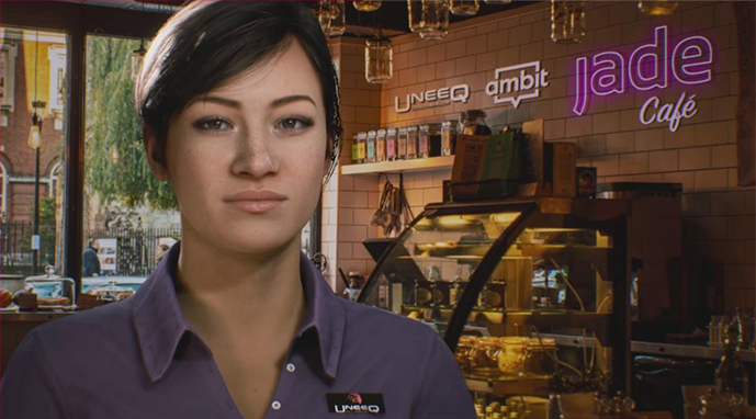 Bella Jade's Digital Barista in the virtual coffee house called the Uneeq, Ambit Jade Café